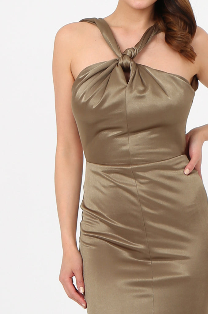 SOY2787-OLIVE SATIN KNOT FRONT FISHTAIL MAXI DRESS view 4