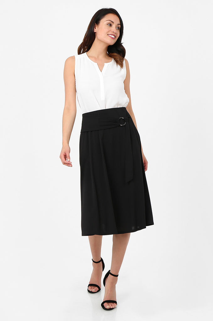 SOY2813-BLACK BELTED A-LINE JERSEY SKIRT view main view