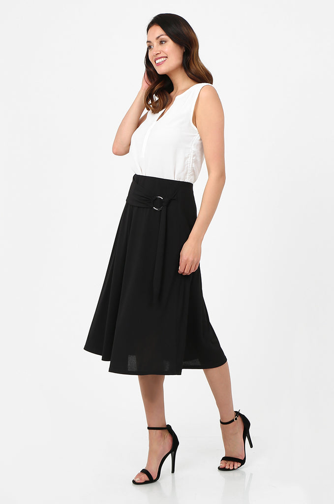 SOY2813-BLACK BELTED A-LINE JERSEY SKIRT view 2