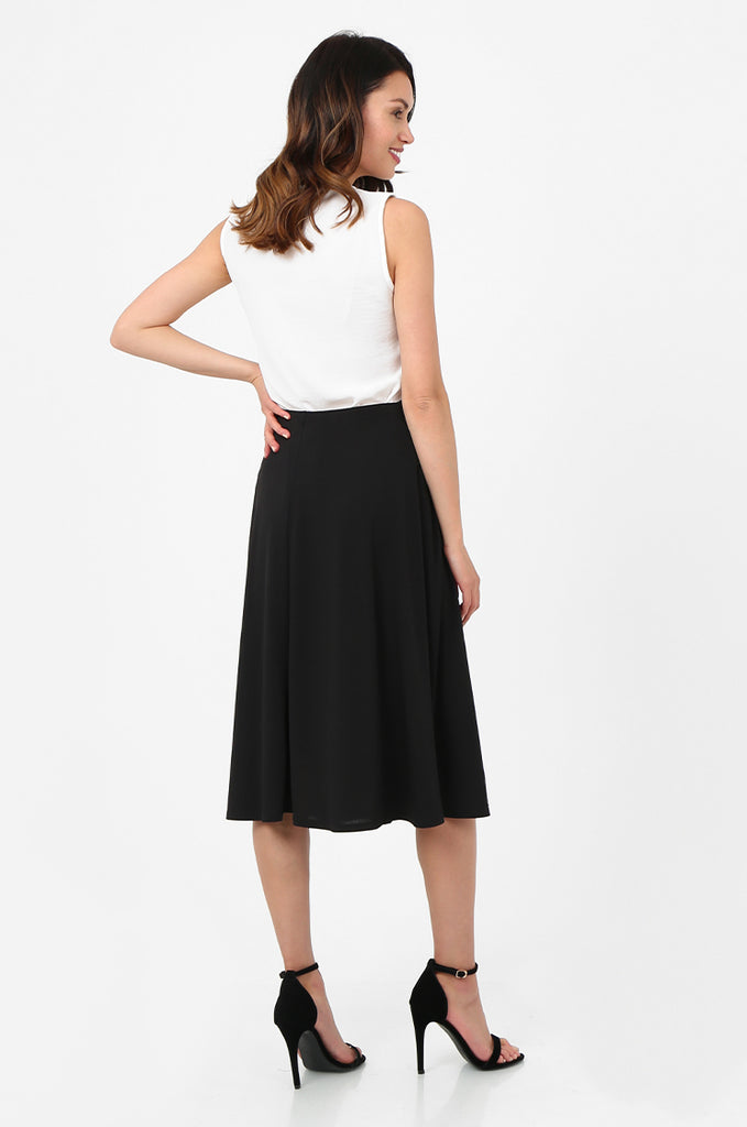 SOY2813-BLACK BELTED A-LINE JERSEY SKIRT view 3