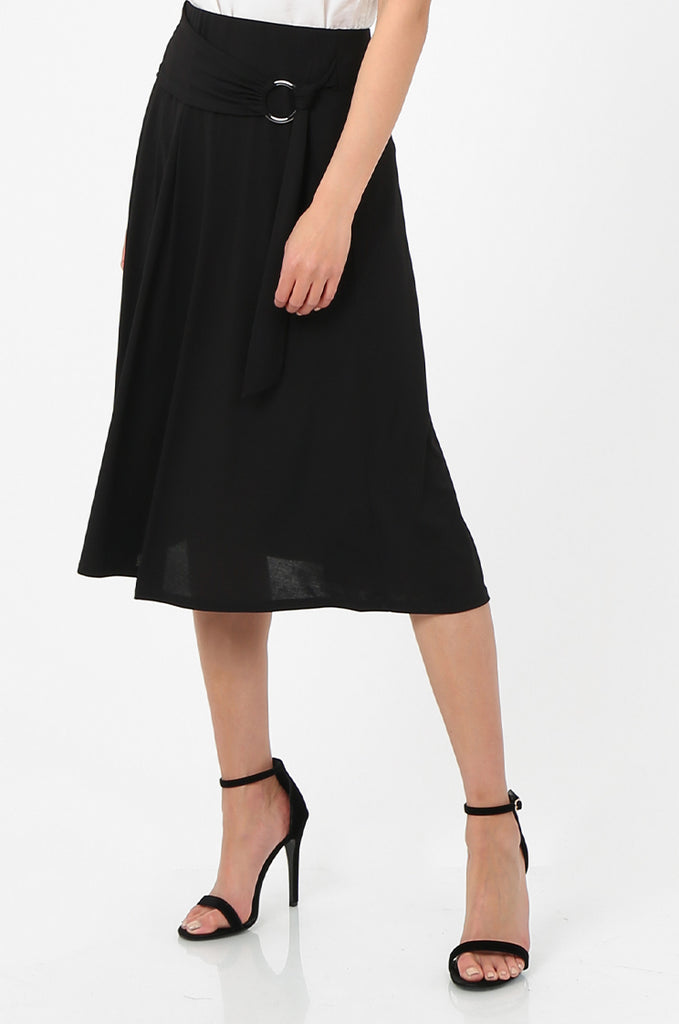 SOY2813-BLACK BELTED A-LINE JERSEY SKIRT view 4