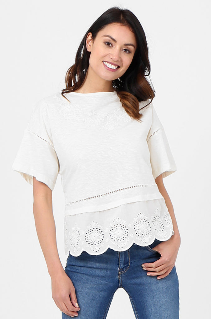 SOY2814-CREAM EMBROIDERED & SEQUIN EMBELLISHED SHORT SLEEVE TOP