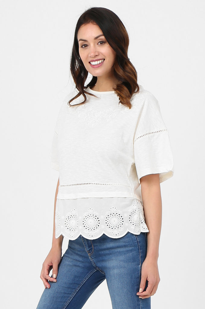 SOY2814-CREAM EMBROIDERED & SEQUIN EMBELLISHED SHORT SLEEVE TOP view 2