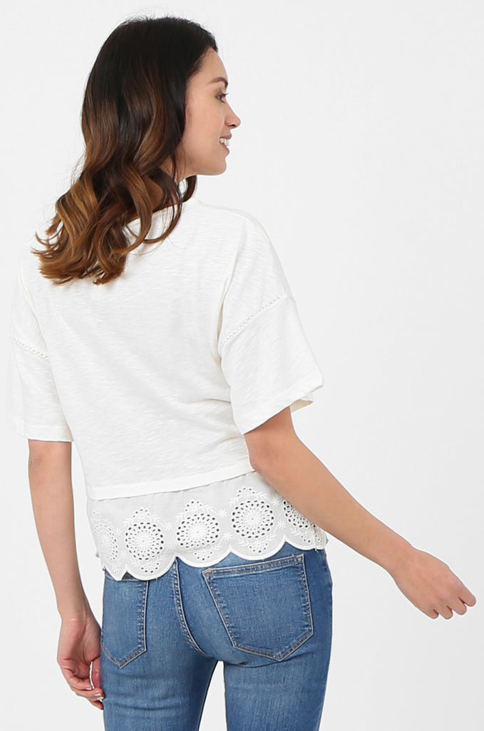 SOY2814-CREAM EMBROIDERED & SEQUIN EMBELLISHED SHORT SLEEVE TOP view 3