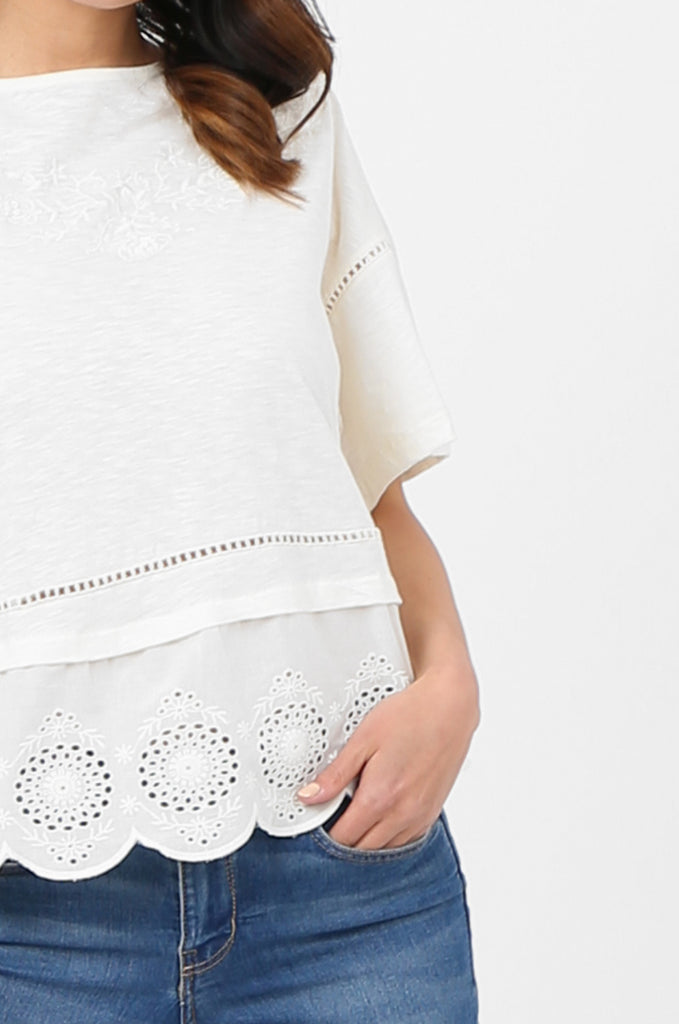SOY2814-CREAM EMBROIDERED & SEQUIN EMBELLISHED SHORT SLEEVE TOP view 5