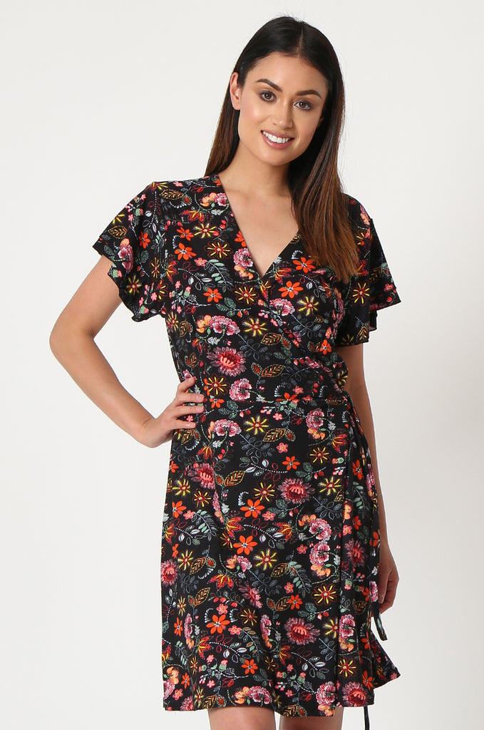 SOY2859-BLACK FLORAL WRAP SUPER SOFT JERSEY DRESS view 2
