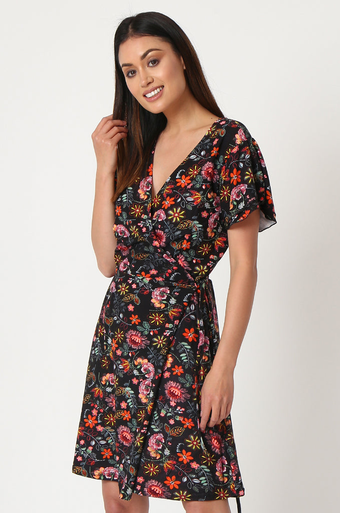 SOY2859-BLACK FLORAL WRAP SUPER SOFT JERSEY DRESS view 3