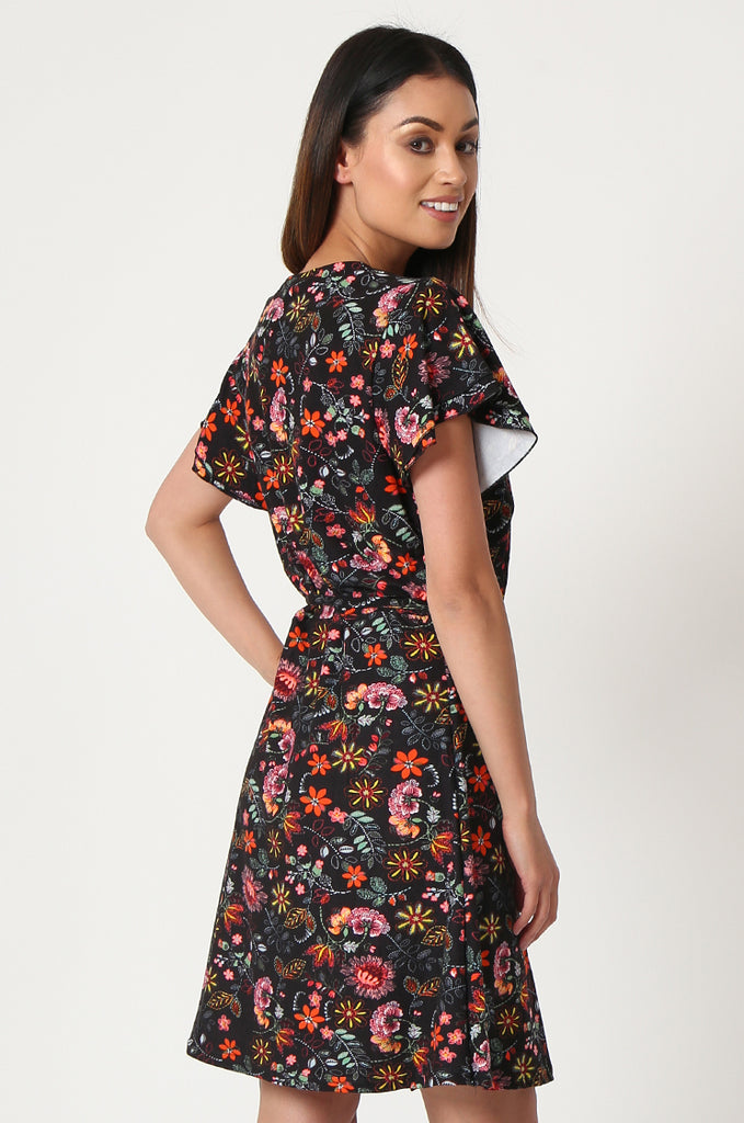 SOY2859-BLACK FLORAL WRAP SUPER SOFT JERSEY DRESS view 4
