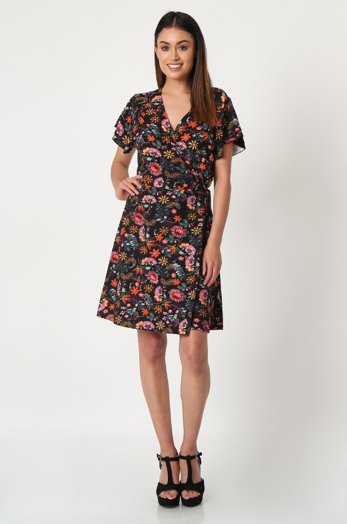 SOY2859-BLACK FLORAL WRAP SUPER SOFT JERSEY DRESS