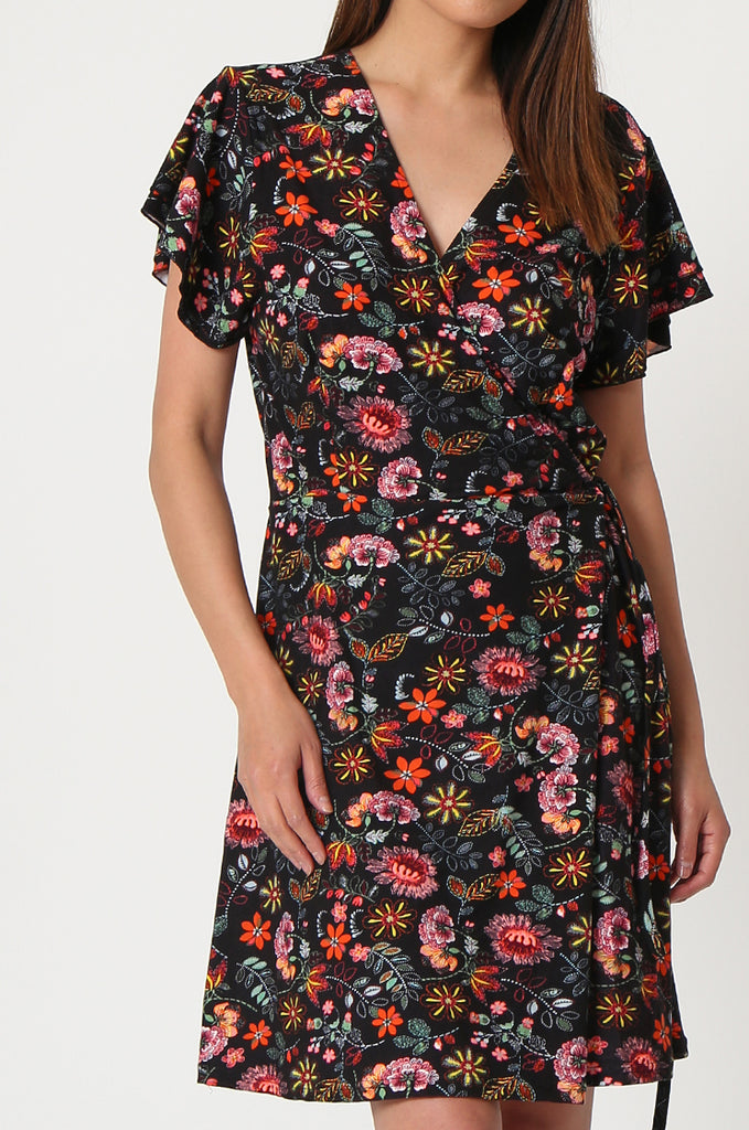 SOY2859-BLACK FLORAL WRAP SUPER SOFT JERSEY DRESS view 5