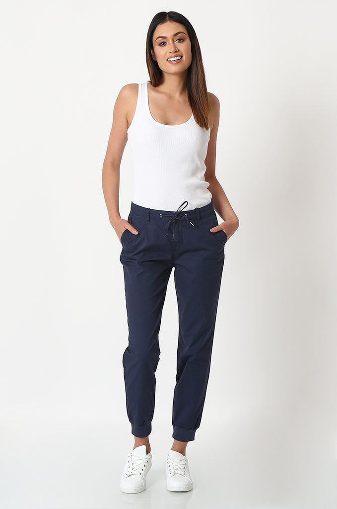 SOY2862-NAVY STRETCH CUFF RELAXED FIT TROUSERS