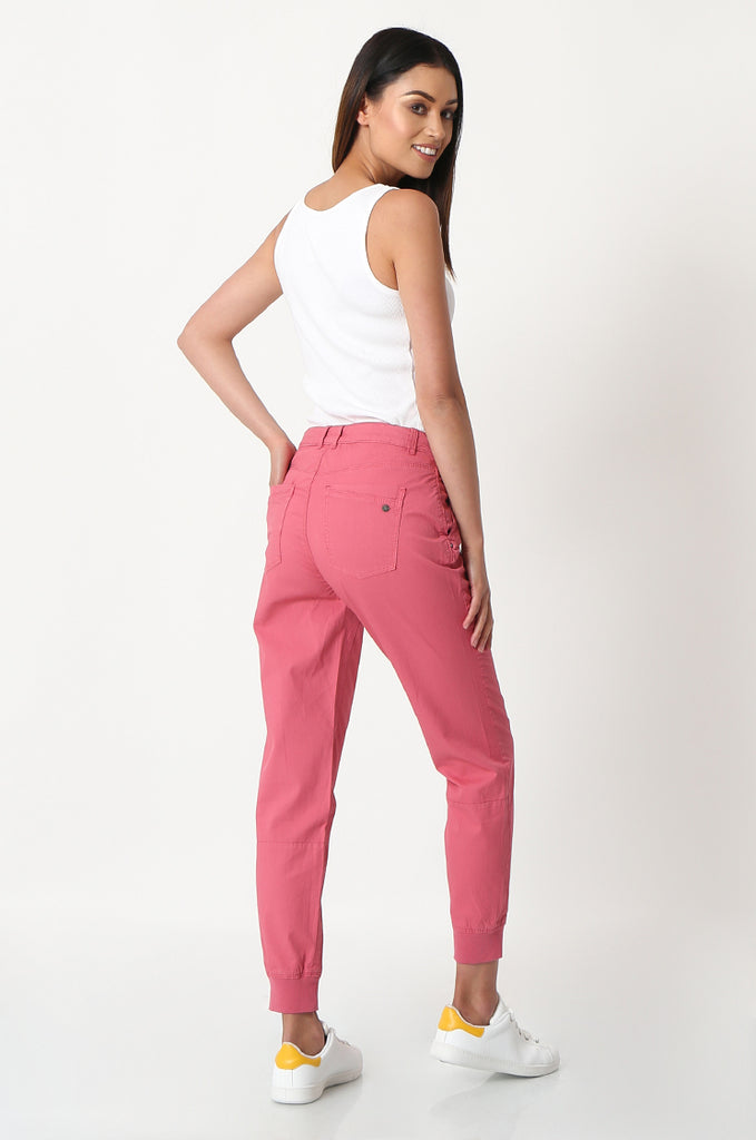 SOY2862-RED STRETCH CUFF RELAXED FIT TROUSERS view 3