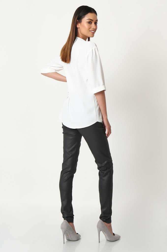 SOY2863-BLACK COATED STRETCH SKINNY JEANS view 3