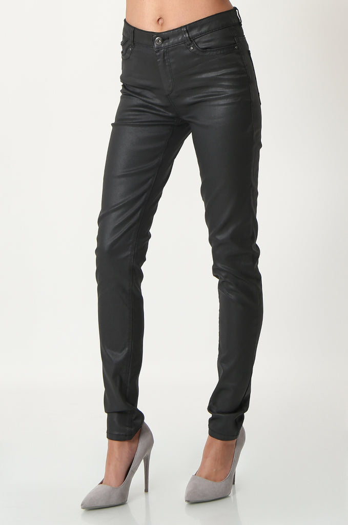 SOY2863-BLACK COATED STRETCH SKINNY JEANS view 4