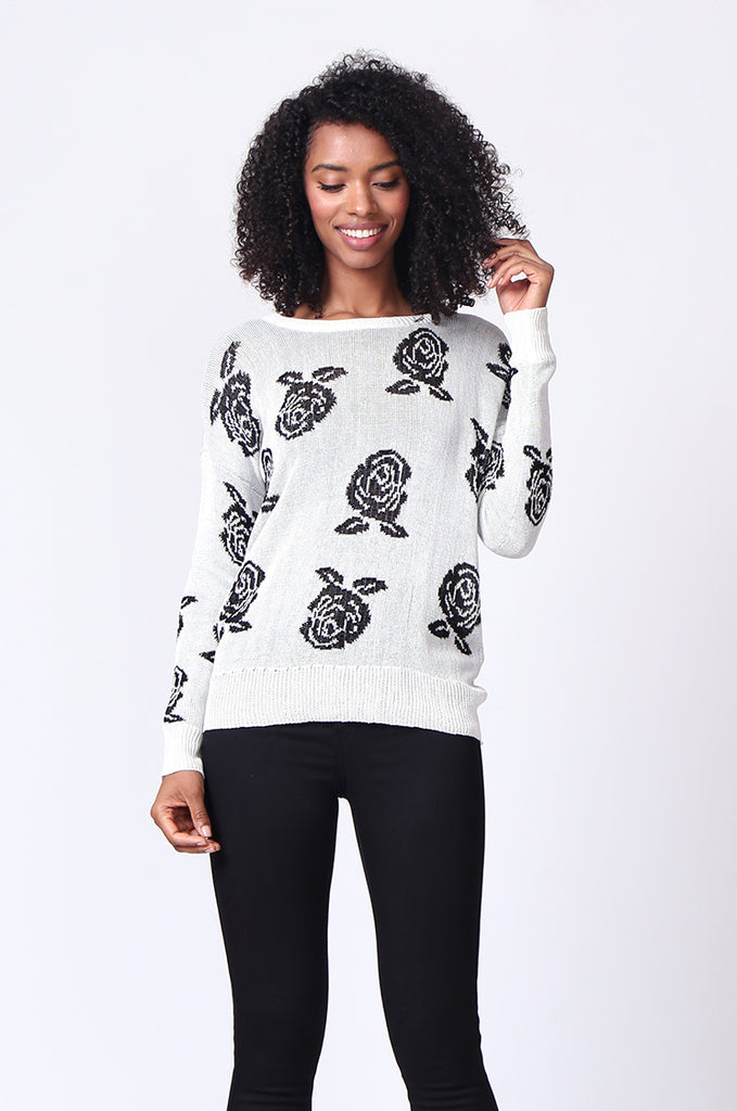 SP0125-WHITE ROSE PRINT LONG SLEEVE CREWNECK JUMPER view main view
