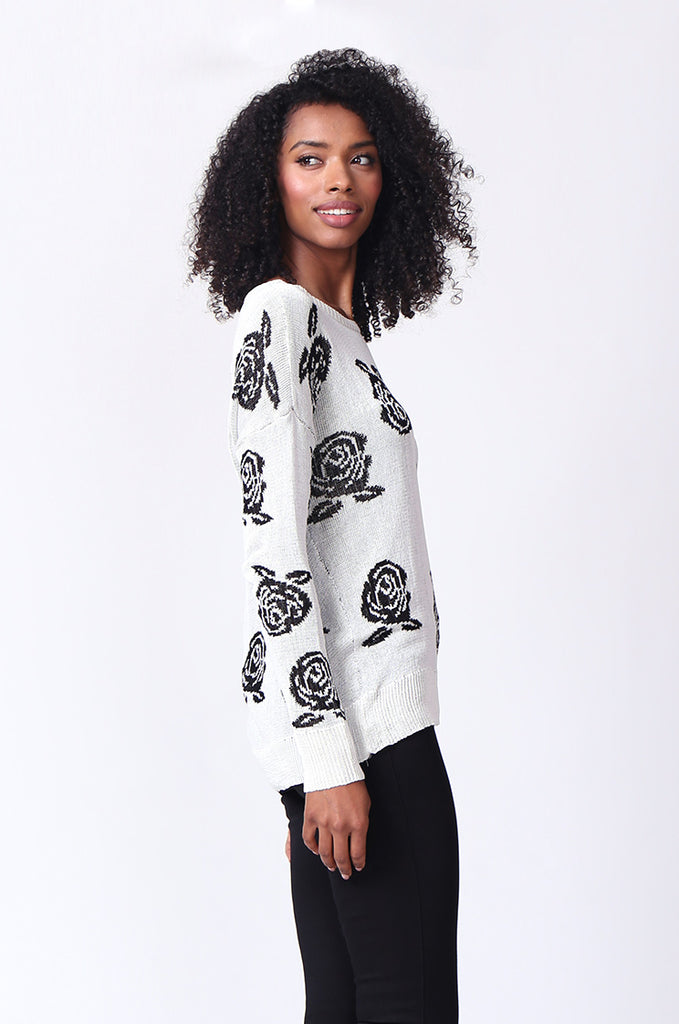 SP0125-WHITE ROSE PRINT LONG SLEEVE CREWNECK JUMPER view 2
