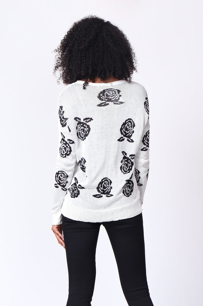 SP0125-WHITE ROSE PRINT LONG SLEEVE CREWNECK JUMPER view 3