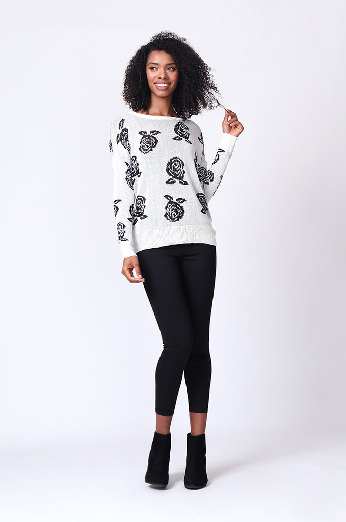 SP0125-WHITE ROSE PRINT LONG SLEEVE CREWNECK JUMPER view 4