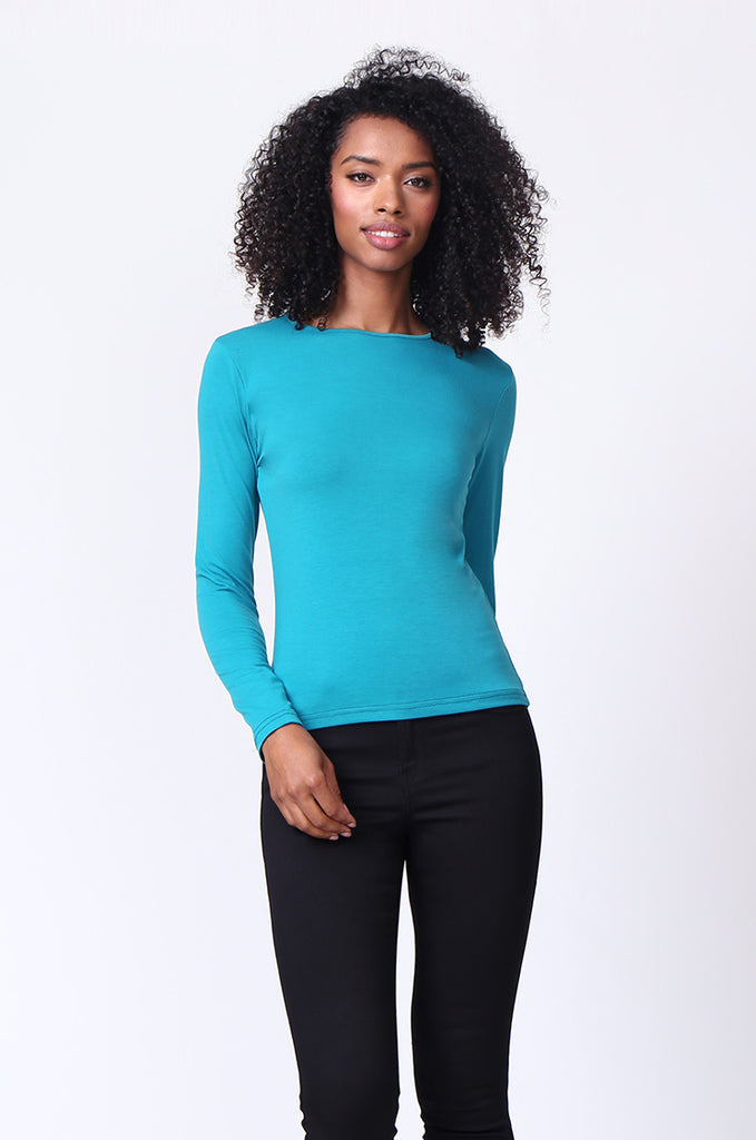 SP0231-TEAL CREW NECK LONG SLEEVE TOP