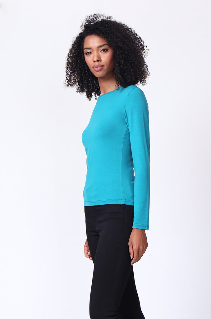 SP0231-TEAL CREW NECK LONG SLEEVE TOP view 2