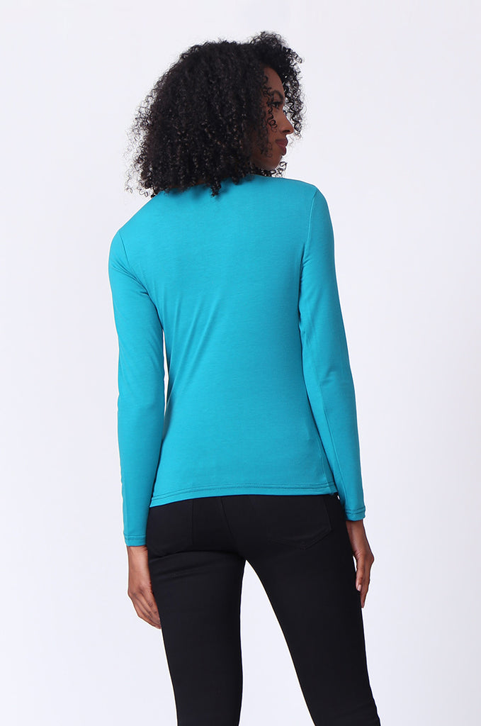SP0231-TEAL CREW NECK LONG SLEEVE TOP view 3