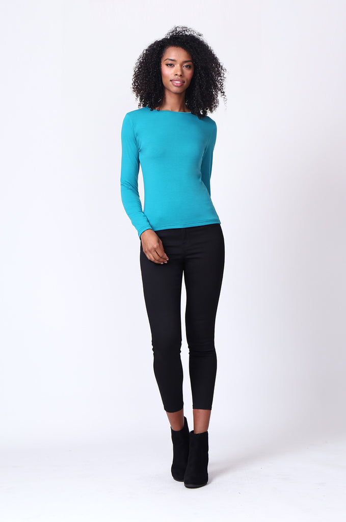 SP0231-TEAL CREW NECK LONG SLEEVE TOP view 4