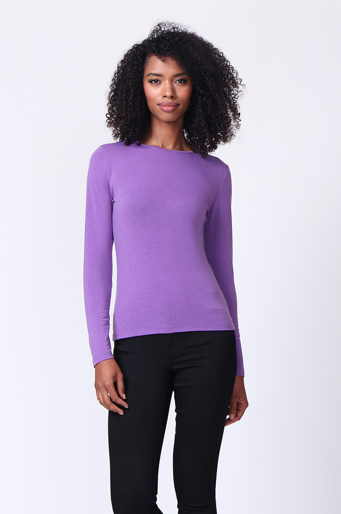 SP0231-PURPLE CREW NECK LONG SLEEVE TOP view main view