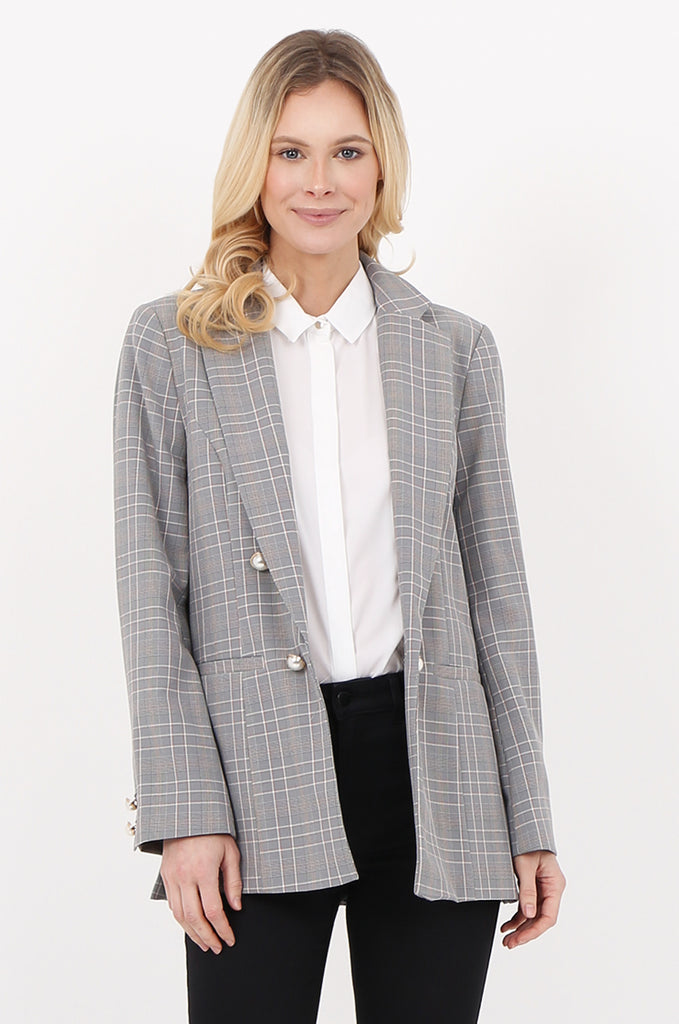 SPD2456-BLACK & WHITE PEARL BUTTON DETAIL CHECK BLAZER
