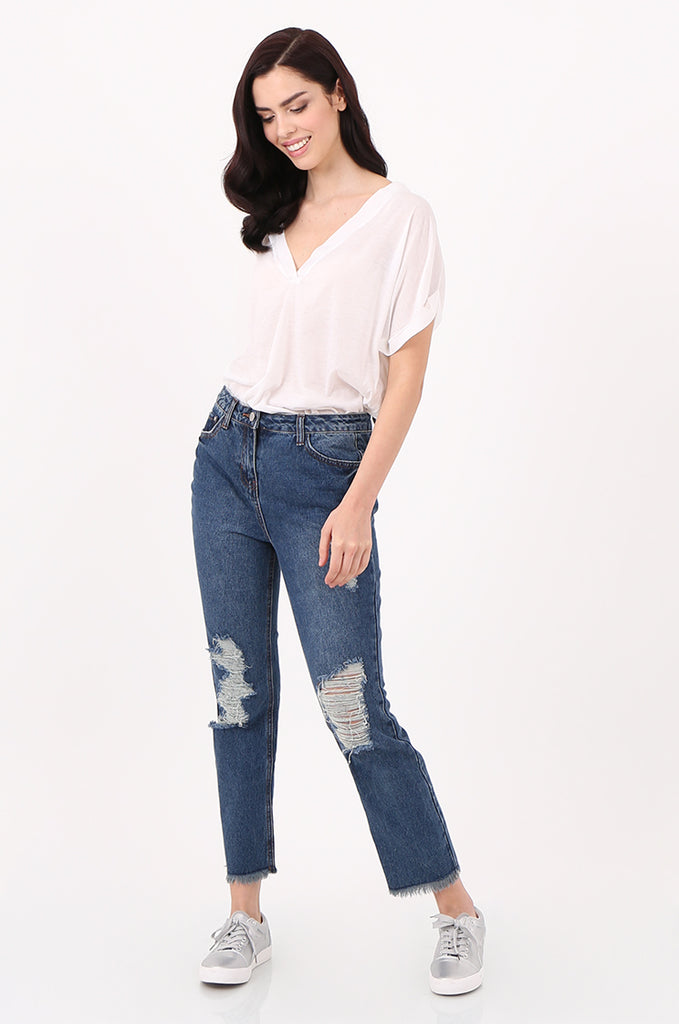 SPD2558-DARK BLUE DISTRESSED BOYFRIEND JEANS view main view