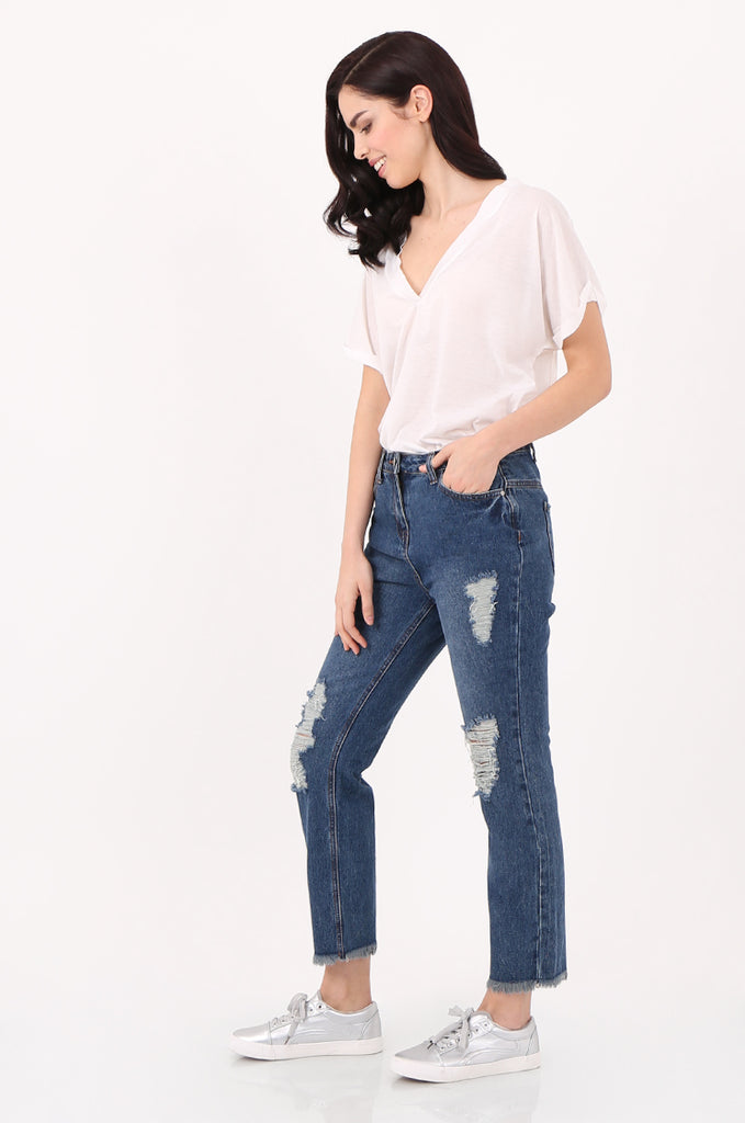 SPD2558-DARK BLUE DISTRESSED BOYFRIEND JEANS view 2