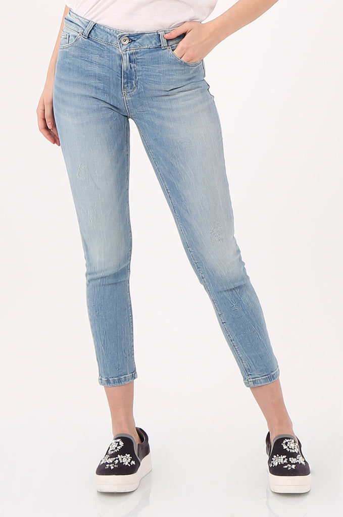 SPD2559-LIGHT WASH STRETCH SKINNY JEANS view 4