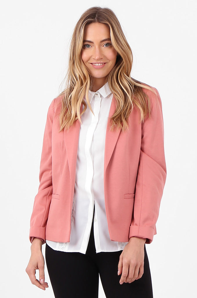 SPD2760-PINK TURN UP SLEEVE JERSEY BLAZER