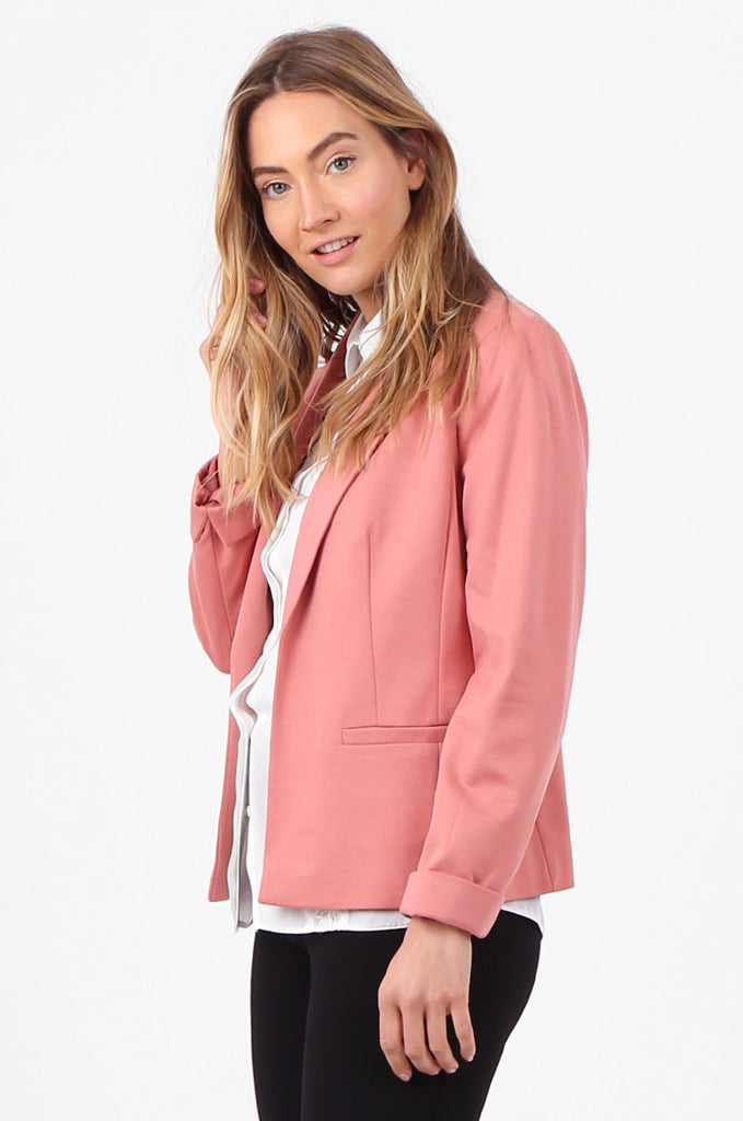 SPD2760-PINK TURN UP SLEEVE JERSEY BLAZER view 2