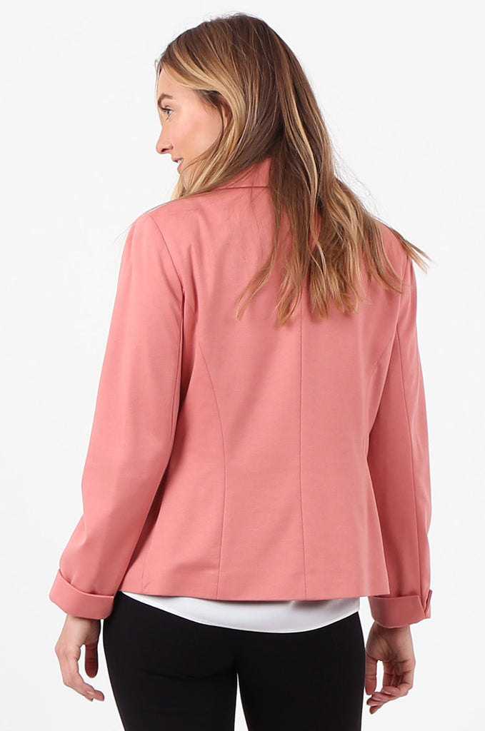 SPD2760-PINK TURN UP SLEEVE JERSEY BLAZER view 3