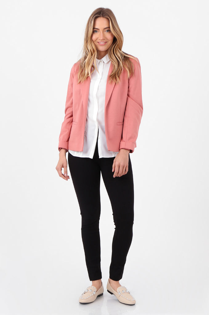 SPD2760-PINK TURN UP SLEEVE JERSEY BLAZER view 4