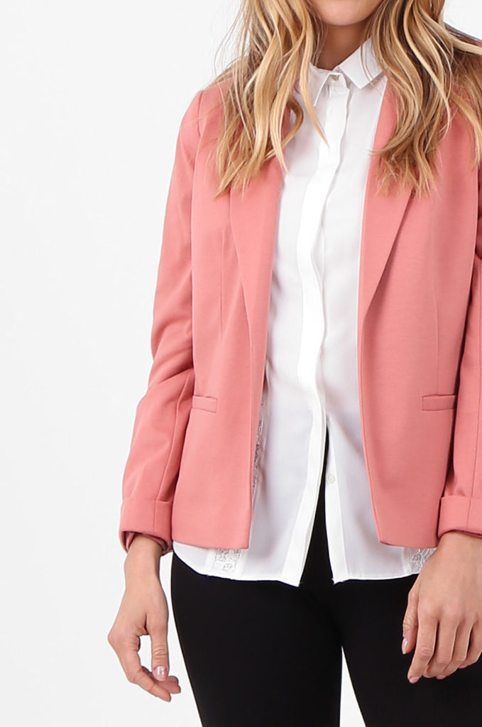 SPD2760-PINK TURN UP SLEEVE JERSEY BLAZER view 5