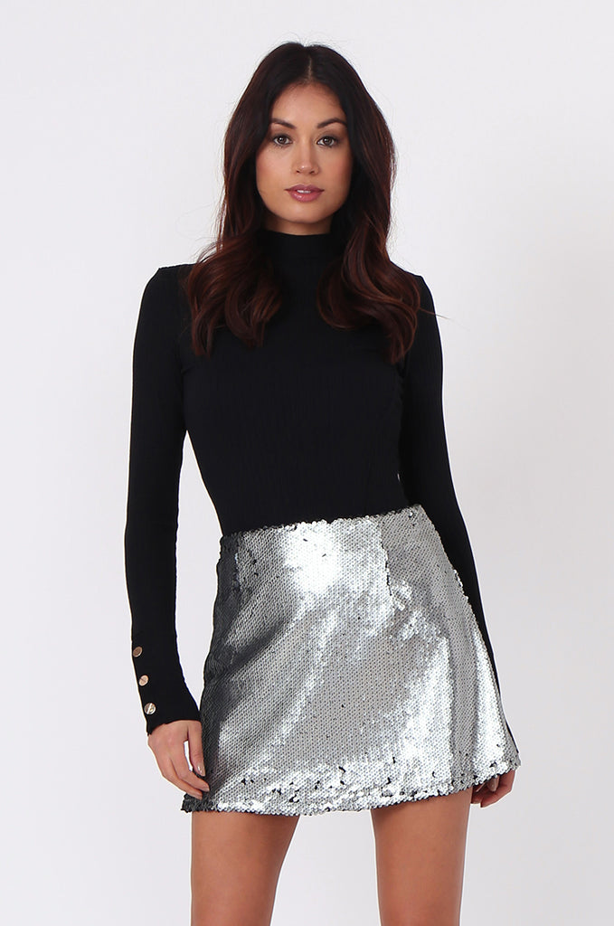 SPF0434-SILVER SEQUIN MINI SKIRT