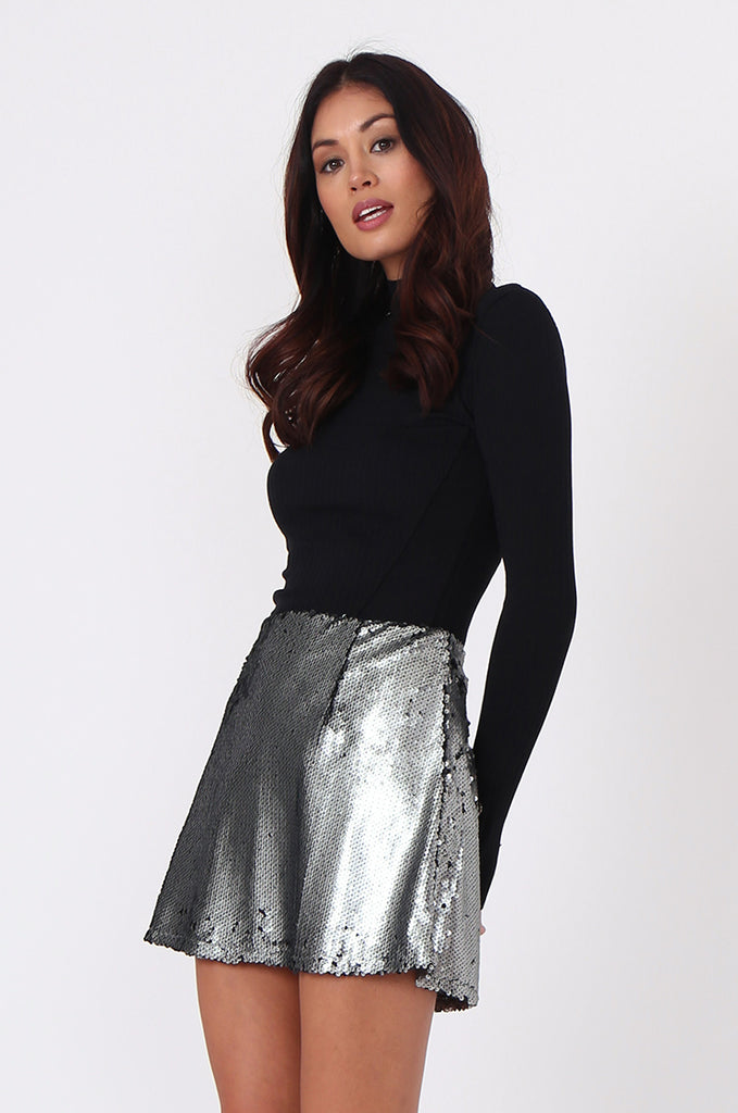 SPF0434-SILVER SEQUIN MINI SKIRT view 2