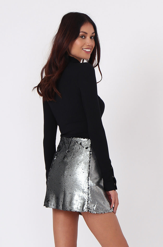 SPF0434-SILVER SEQUIN MINI SKIRT view 3