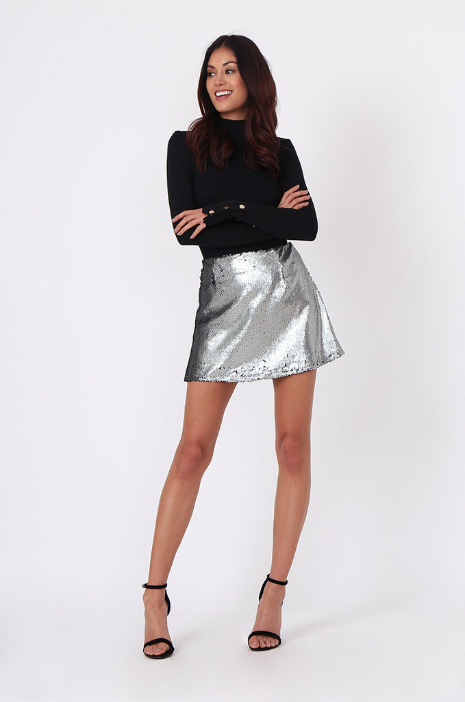SPF0434-SILVER SEQUIN MINI SKIRT view 4