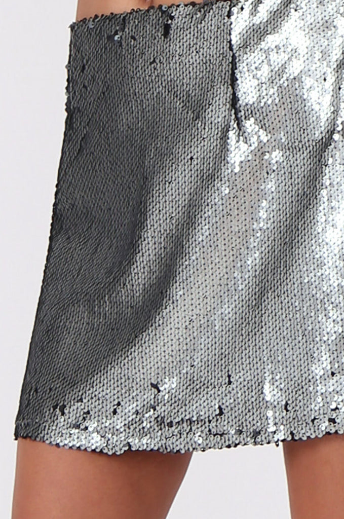 SPF0434-SILVER SEQUIN MINI SKIRT view 6