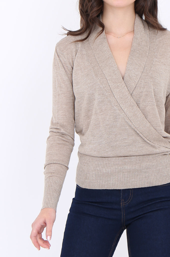 SPP1914-BEIGE CROSS FRONT SHAWL COLLAR KNIT TOP view 5