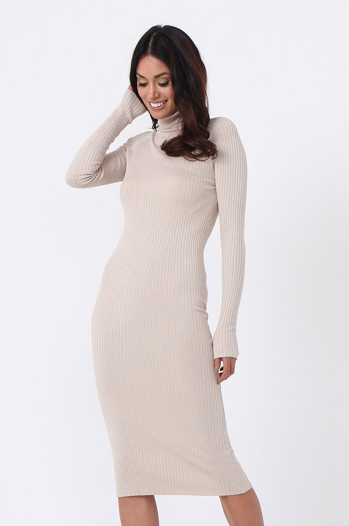 TURTLE NECK RIB KNIT MIDI DRESS