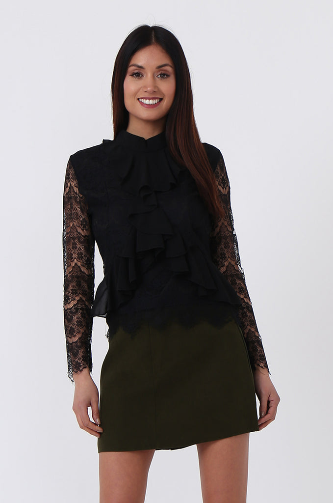 SPS0719-BLACK LACE RUFFLE FRONT BLOUSE view main view