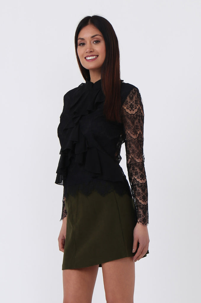 SPS0719-BLACK LACE RUFFLE FRONT BLOUSE view 2