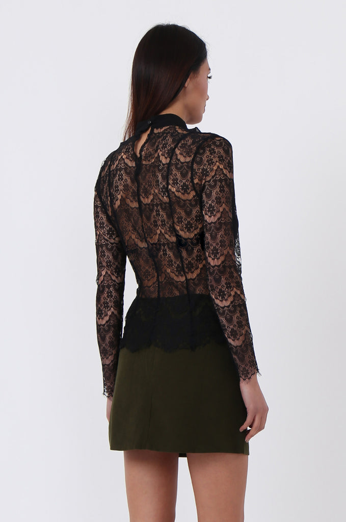 SPS0719-BLACK LACE RUFFLE FRONT BLOUSE view 3