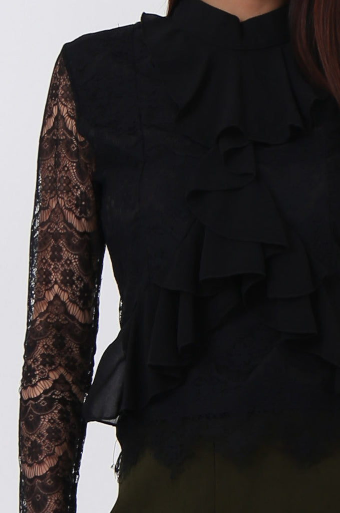 SPS0719-BLACK LACE RUFFLE FRONT BLOUSE view 5