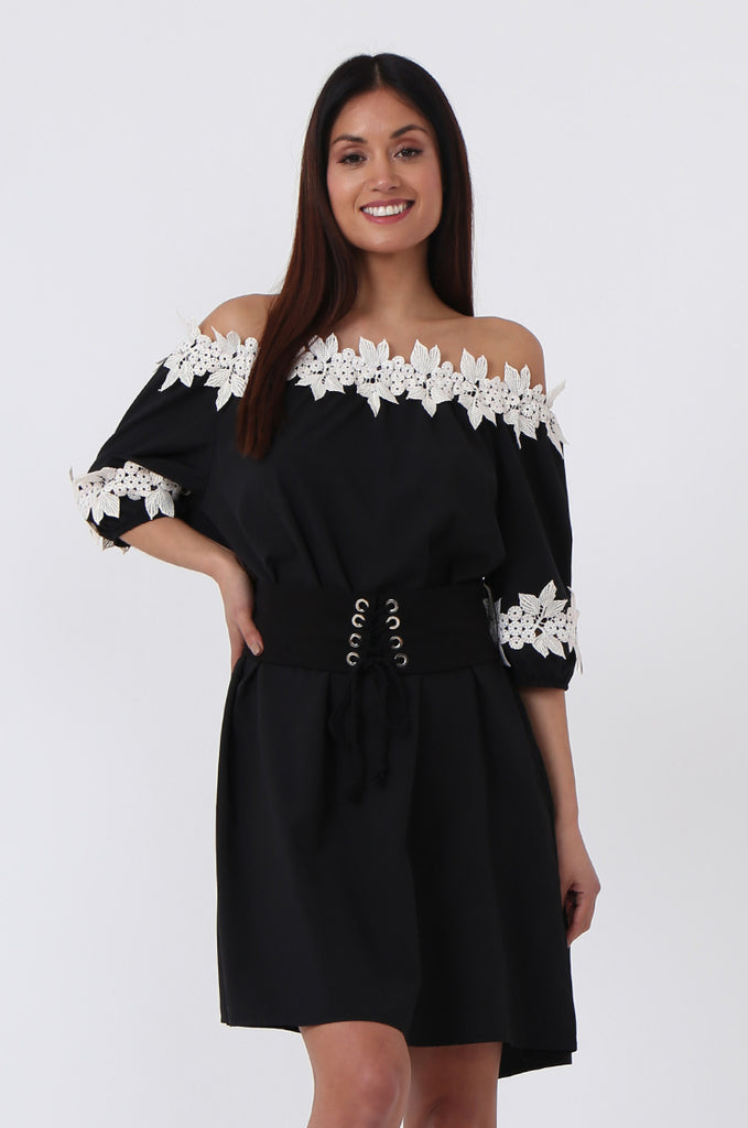 SPS0723-BLACK FLORAL TRIM BELTED DRESS view main view