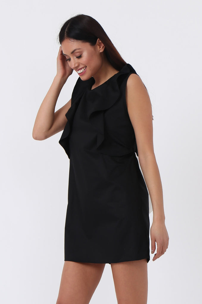 SPS0727-BLACK RIBBON TIE BACK DRESS view 3