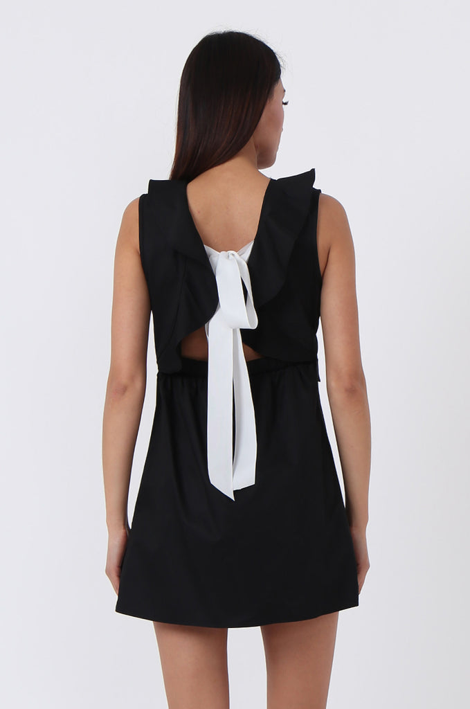 SPS0727-BLACK RIBBON TIE BACK DRESS view 4